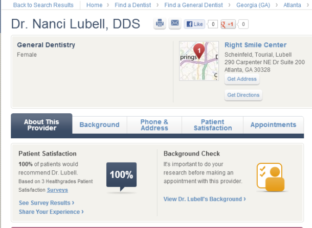 Patients rate Dr. Nanci Lubell 100% satisfied