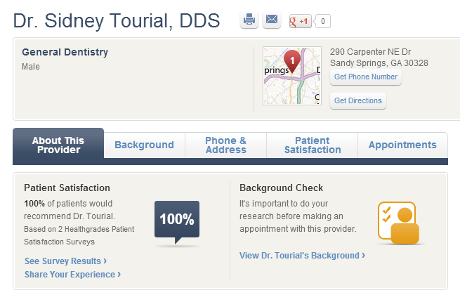 Patients rate Dr. Sidney Tourial 100% satisfied.