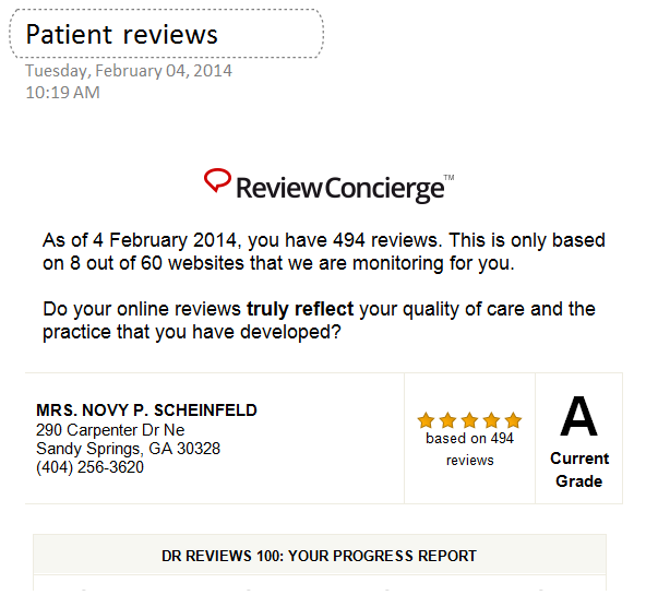 2014 Patient reviews